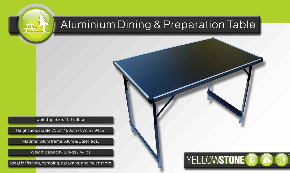Gelbstone Large Folding Table Aluminium Dining & Prep Table Strong Lightweight