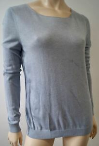 American-Vintage-Bleu-Pale-Laine-Melange-Col-Rond-Pull-a-manches-longues-Pull-Top