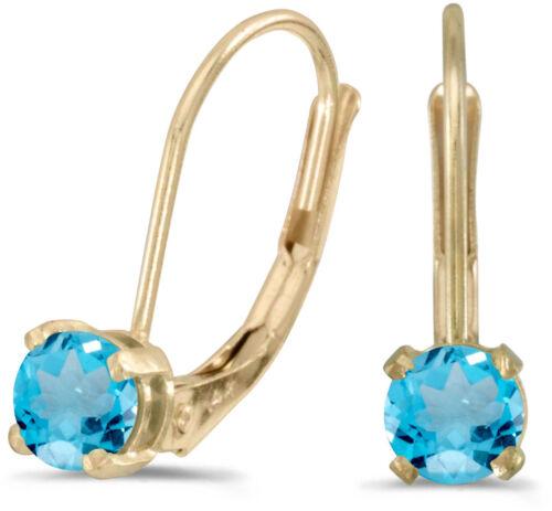 14k Yellow Gold Round Blue Topaz Lever-back Earrings