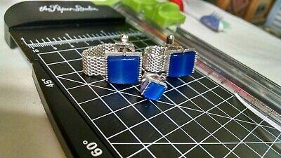 Vintage Swank Blue Wrap Mesh Cufflinks Cuff Links Tie Pin Set by Saxony