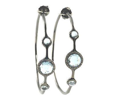 "IPPOLITA Silver Blue Topaz Diamond Hoop Earrings Sterling .925 Wicked Black 2"""