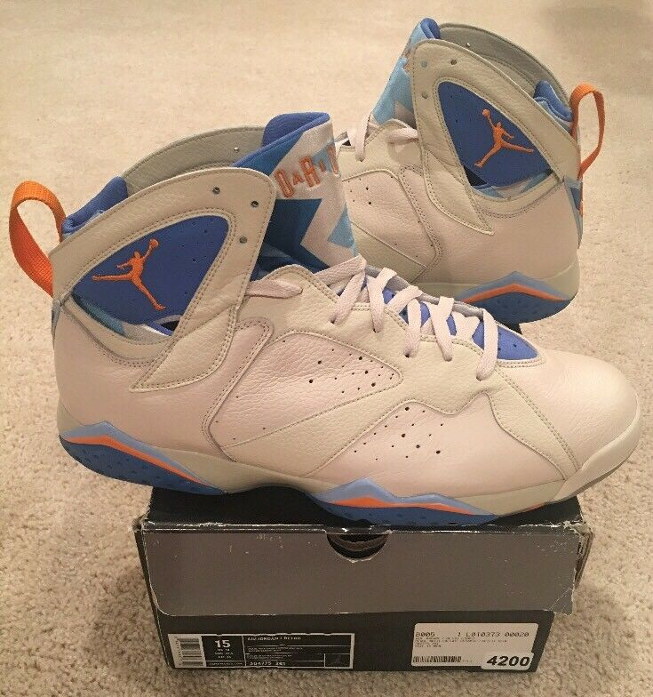 online retailer 20249 51db6 Nike Air Jordan Retro 7 VII Size 15 15 15 Pearl White Bright Ceramic  Pacific Blue