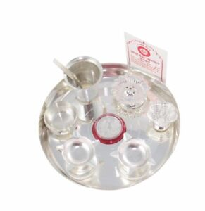 Image is loading Classic-Occasional-Silver-Plated-Pooja-Thali-Set-with-  sc 1 st  eBay & Classic Occasional Silver Plated Pooja Thali Set with Free German ...