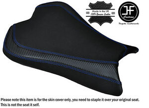 CARBON-GRIP-R-BLUE-DS-ST-CUSTOM-FITS-KAWASAKI-ZX6R-636-09-15-FRONT-SEAT-COVER