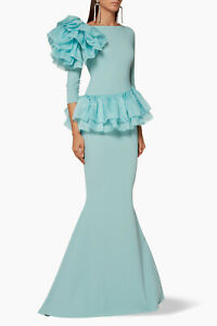 NEW-Chiara-Boni-Robe-Organza-Ruffle-Glanys-Gown-in-Light-Blue-Size-52-DD9