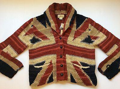 Ralph Lauren Denim and Supply Union Jack UK Flag Shawl Caridgan-Womens $245- M