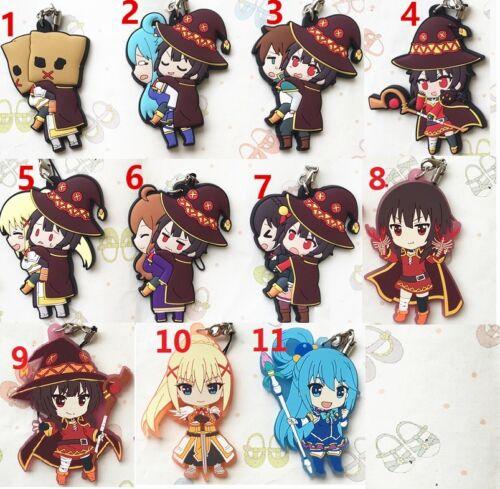 KonoSuba Anime Megumin Aqua Darkness Keychain GSC Anime Rubber Strap Charm Gift