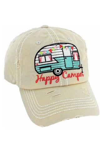 Happy Camper Casquette de baseball brodé effet vieilli pour femme femme coiffure