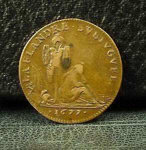 En Herbe Jeton Charles Ii - La Flandre Subiuguée - 1677 Louis Loir French Token Medal éGouttage