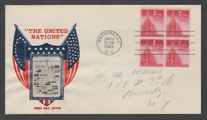 US Planty 907-23 FDC. 1943 2c United Nations, Crosby photo cachet, addressed