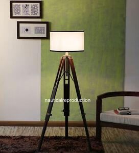 Nautical Brass Antique Tripod Stand Antique Fitting Lighting Floor Lamp Handmade