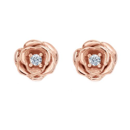 14k Rose Gold Disney Diamond Belle Fashion Stud Earrings Over 925 Silver