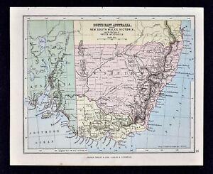 Melbourne Victoria Australia Map.1889 Hughes Map Southeast Australia New South Wales Victoria