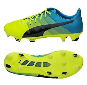 PUMA Men evo-POWER 1.3 FG Cleats Yellow Soccer Football Shoes Spike ... 3b937b366