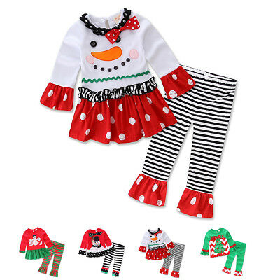Christmas Snowman Icing Ruffle Tops Pants Clothes Outfits for Baby Toddler Girl