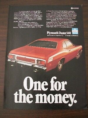 VINTAGE 1973 Plymouth Duster 340 ORIGINAL magazine ad Mopar A body 4 speed