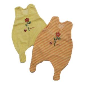 Baby-Strampler-Doppelpack-Babyanzug-Frottee-Gelb-Orange-Maedchen-Baby-Gr-56-62