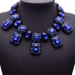 Blau-Glas-Strass-Kette-Statementkette-Halskette-Collier-Modeschmuck-schwarz-neu