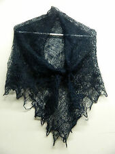 RUSSIAN ORENBURG LACE KNITTED SHAWL SCARF (PASHMINA) COLOR BLACK