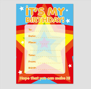 Details About Its My Birthday Party Invitation 16 A6 Cards Ideal For Kids Birthday Star