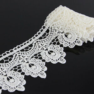 2-Yards-Off-White-Floral-Polyester-Lace-Applique-Sewing-Trim-DIY-Crafts-Trimming