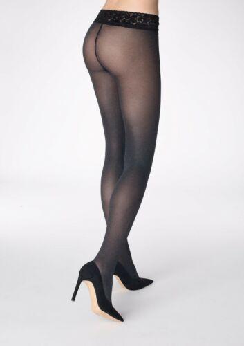 Womens Low Waist Microfiber Tights Semi Matt Hosiery Silicone And Lace Waistband