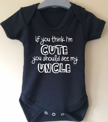 CUTE UNCLE BABY BODY GROW SUIT VEST GIRL BOY GIFT IDEA FUNNY