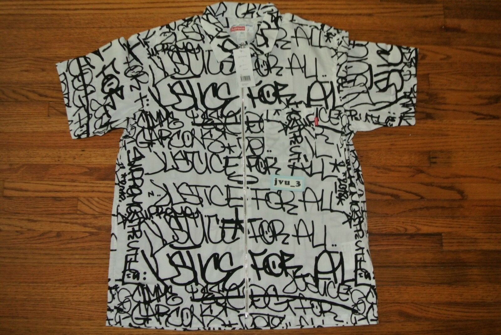NEW SUPREME CDG FW18 GRAPHIC S S SHIRT LARGE WHITE COMME DES GARCONS button-up