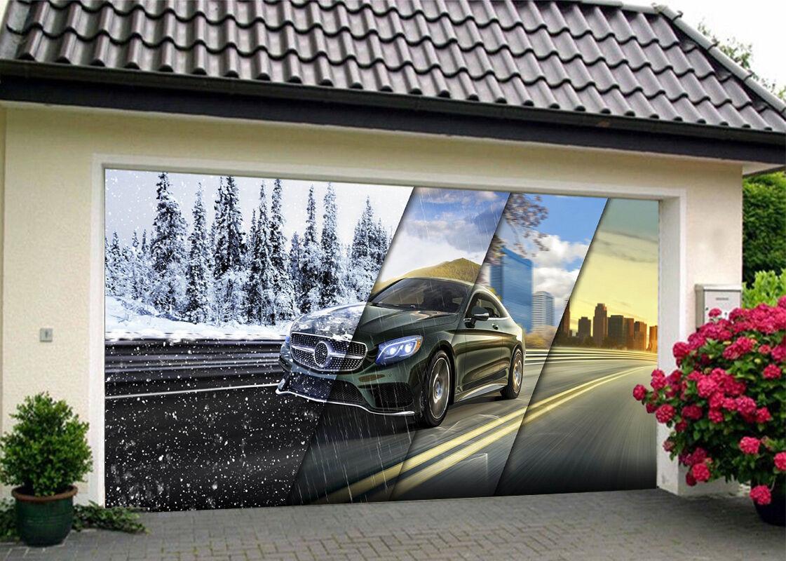 3D Seasons Car 83 Garage Door Murals Wall Print Decal Wall AJ WALLPAPER UK Carly