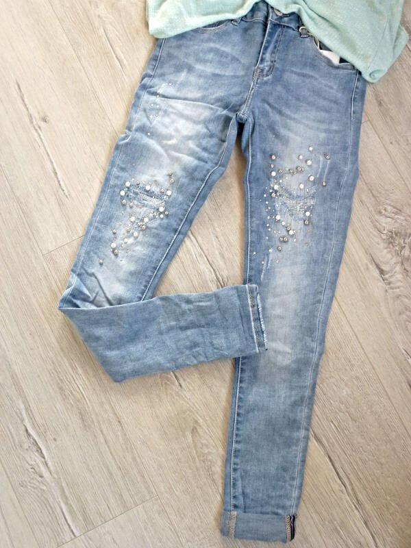 XS   coole angesagte Jeans mit Perlen destroyed unterlegt  blau   | Diversified In Packaging  | Shopping Online  | Qualitätsprodukte  | Die Königin Der Qualität  | Niedrige Kosten