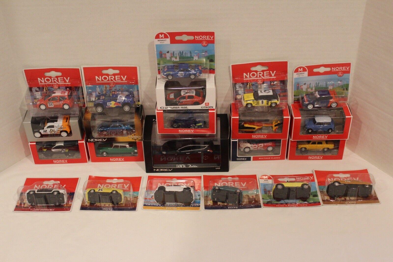 Huge 22 Car Lot of NOREV Diecast Cars, 1:43 LANCIA Delta 5 door + 21 1:64 Cars