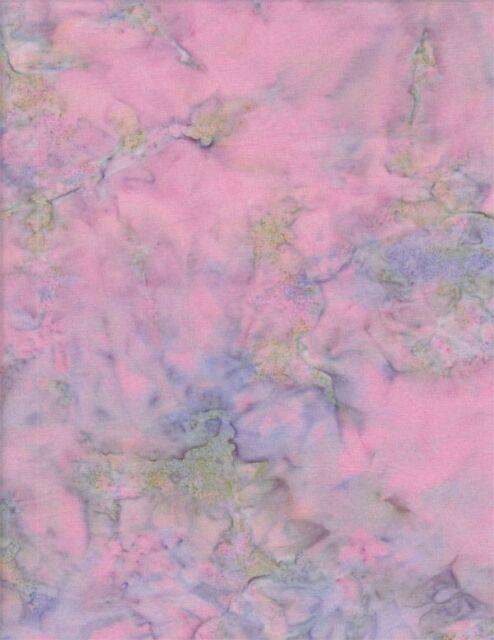 Anthology Batik Solid 1072 - Hand Dyed Mottled Pink, Lavender, Green Solid