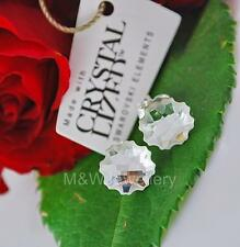 STERLING SILVER * STUDS EARRINGS WITH SWAROVSKI ELEMENTS JELLY FISH CRYSTAL 10mm