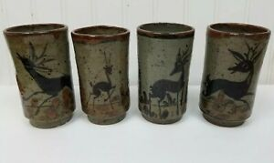 Vintage-Mugs-4-Tall-Mexican-Stoneware-Deer-Leaves-Green-Brown-Speckled