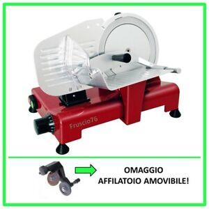 Affettatrice-Lusso-195-GL-RGV-Rossa-Omaggio-Affilatoio-Pressamerce-Alluminio