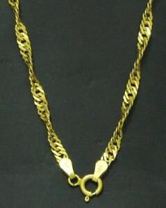 Damen-Halskette-Gedrehte-Singapur-Kette-585-Gold-14-kt-Gelbgold-42-amp-45-amp-50-cm