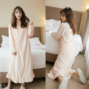 Image is loading Ladies-Lolita-Winter-Coral-Fleece-Nightgown-Dresses-Warm- a289e9699