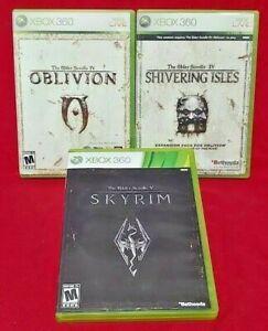 Elder-Scrolls-Oblivion-Skyrim-Shivering-Isles-XBOX-360-3-GAME-Lot-Working