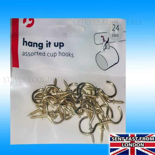 CUP DOOR HOOKS SCREW HOOK Assorted Size DIY Strong Metal Small Large