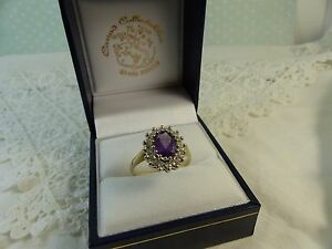 9ct-9carat-Yellow-Gold-Amethyst-Cluster-Ring-Size-O