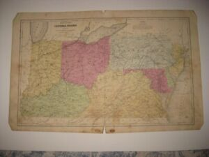 ANTIQUE 1853 INDIANA OHIO VIRGINIA PENNSYLVANIA KENTUCKY ... on ohio tennessee map, ohio south map, pennsylvania bordering canada map, ohio union map, ohio civil war map, ohio underground railroad map, ohio ohio map, ohio bordering states,