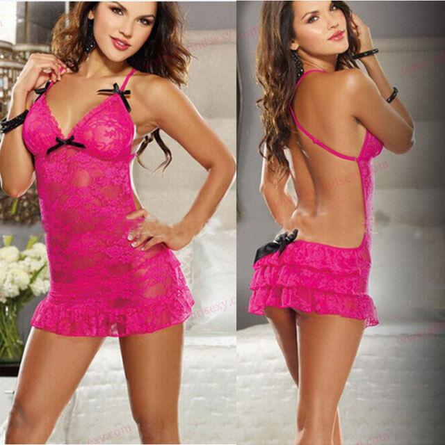 Women's Sexy Rose Lingerie Lace Dress Intimate Babydoll Sleepwear G-string