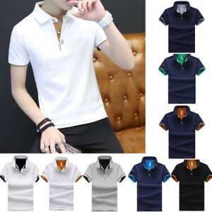 Cotton-Men-039-s-Fashion-Slim-Short-Sleeve-Shirts-T-shirt-Casual-Tops-Blouse-Top