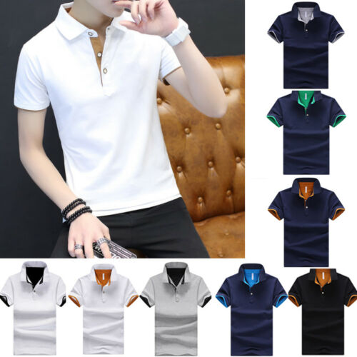 Cotton Men/'s Fashion Slim Short Sleeve Shirts T-shirt Casual Tops Blouse Top