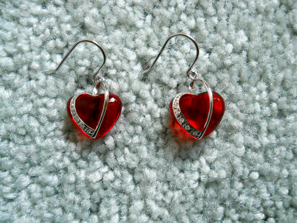 Andrew Hamilton Crawford Puffed Red Heart Pierced Earrings