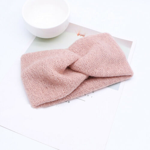 Retro Solid Soft Wide Hair Bands Cross Knotted Elastic Headband Warm Fall Winter