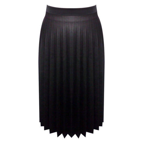 New Ladies Women/'s Black fully Pleated Leather Look PU Girls Skirts
