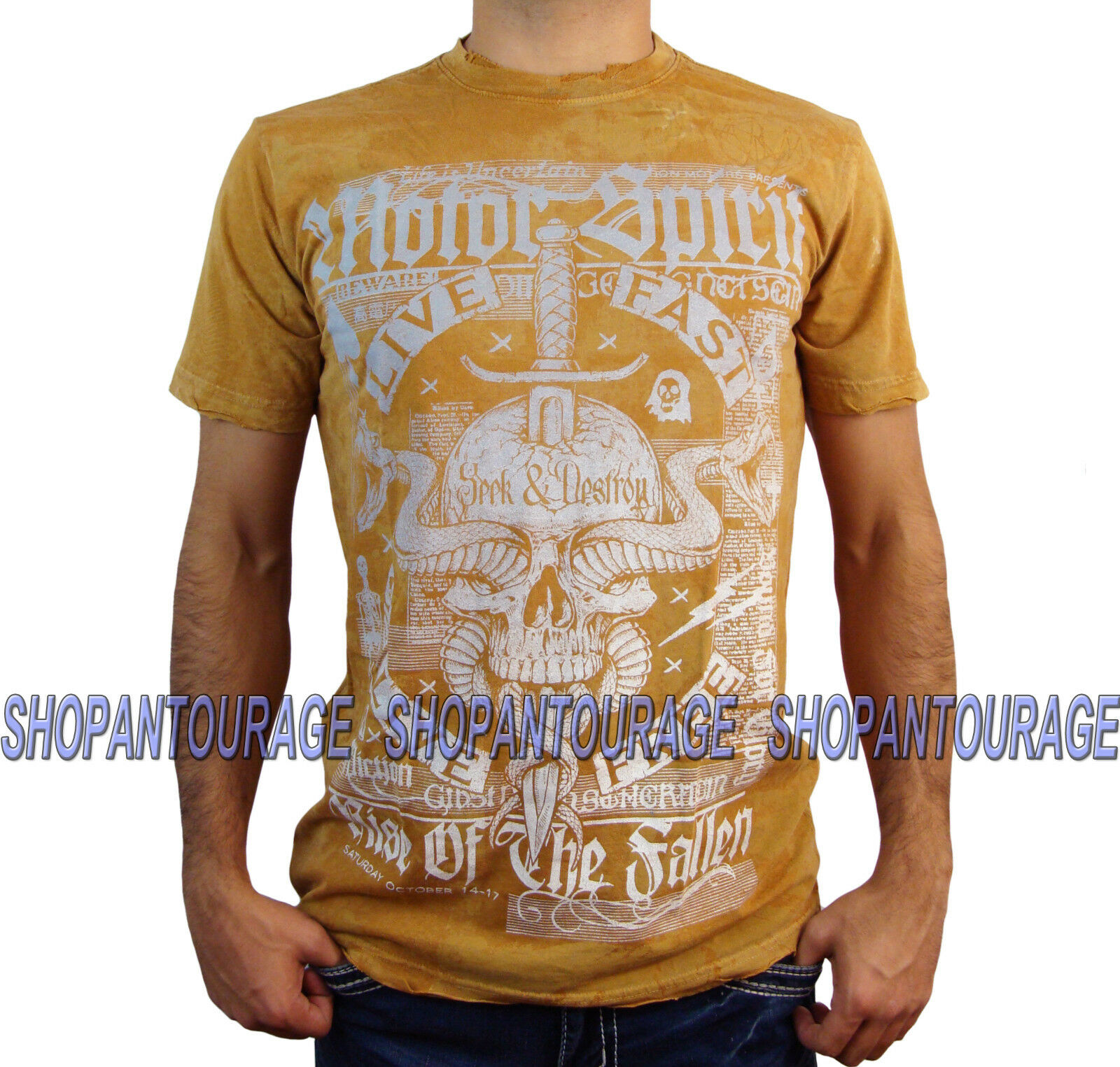 AFFLICTION The Fallen A11957 Men`s New Orange T-shirt