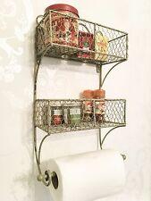 Shabby Chic Shelf Unit French Vintage Storage Basket Display Kitchen Roll Towel