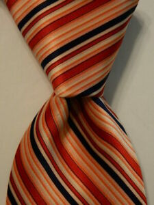 VITALIANO-PANCALDI-Mens-100-Silk-Necktie-ITALY-Luxury-STRIPED-Red-Pink-Blue-GUC